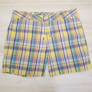 {38} POLO Yellow Sanibel Madras Plaid Swim Trunks